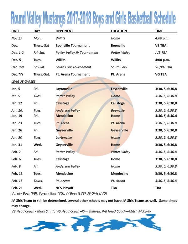 RV Mustangs 2017-2018 Boys and Girls Basketball Schedule