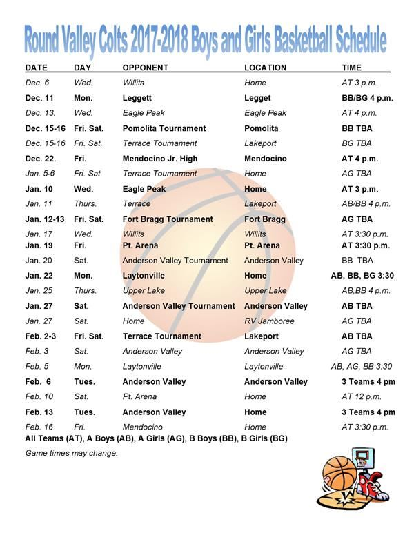 Round Valley Colts 17-18 Boys and Girls Basketball Schedule
